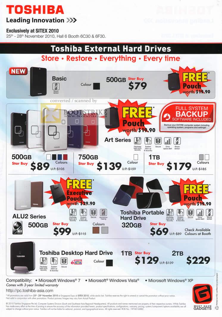 Sitex 2010 price list image brochure of Toshiba External Storage Basic Art ALU2 Portable Desktop Hard Drive