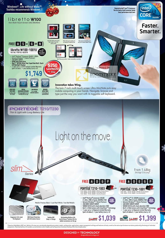 Sitex 2010 price list image brochure of Toshiba Libretto W100 1001U MiniNote Portege T210 1003 T230 1001