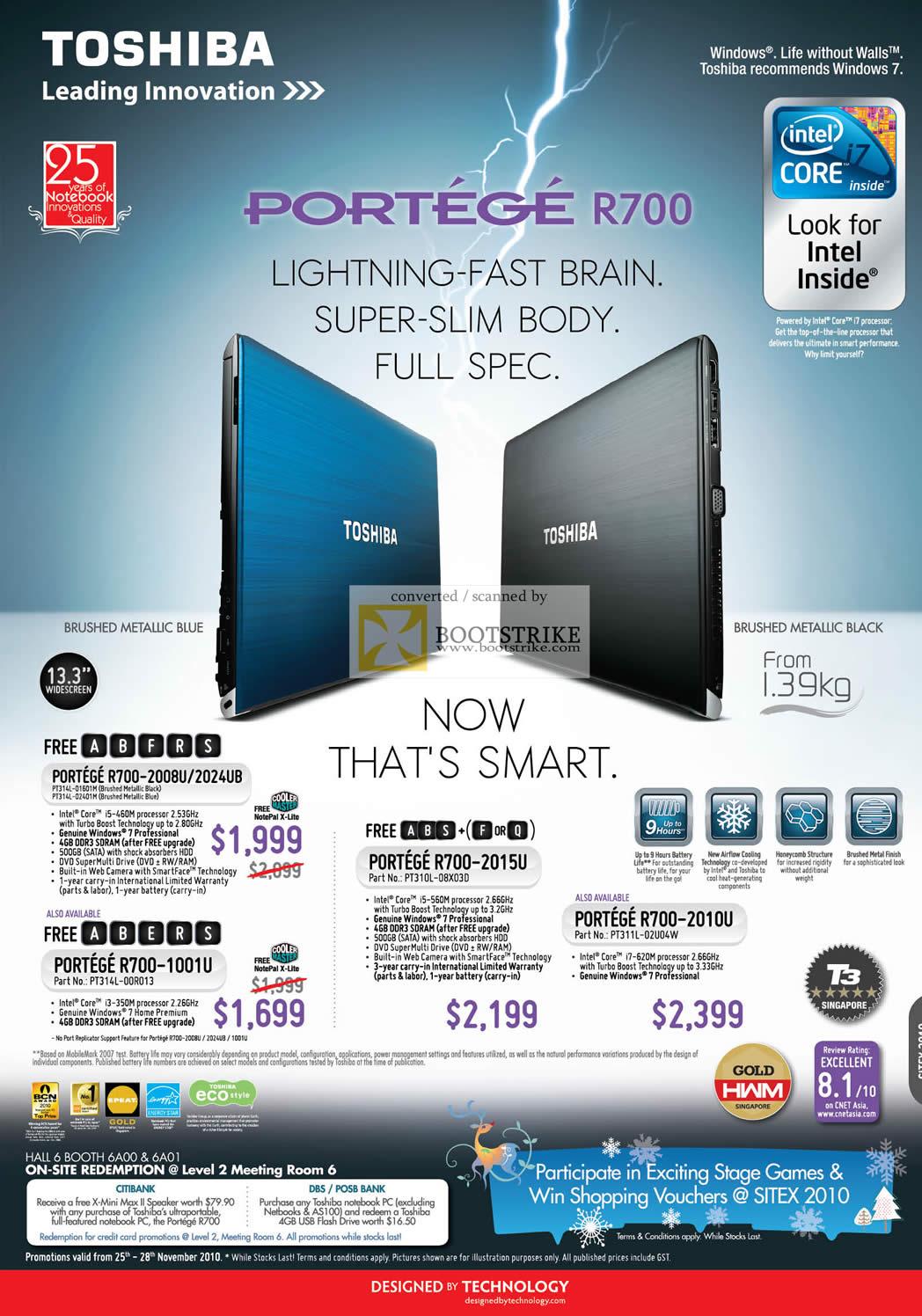 Sitex 2010 price list image brochure of Toshiba Notebooks Portege R700 2008U 2024UB 1001U 2015U