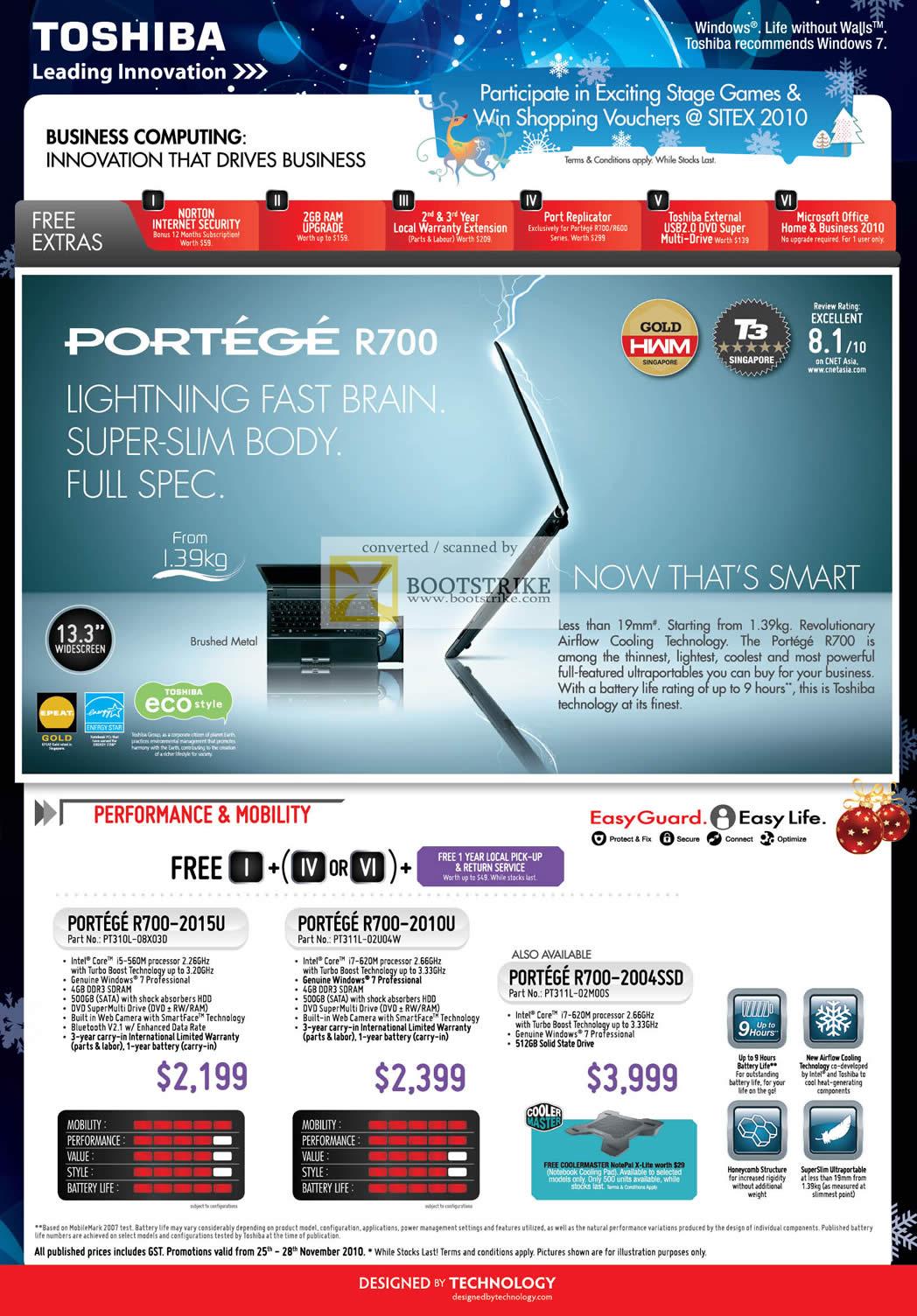 Sitex 2010 price list image brochure of Toshiba Notebooks Portege R700 2015U 2010U 2004SSD