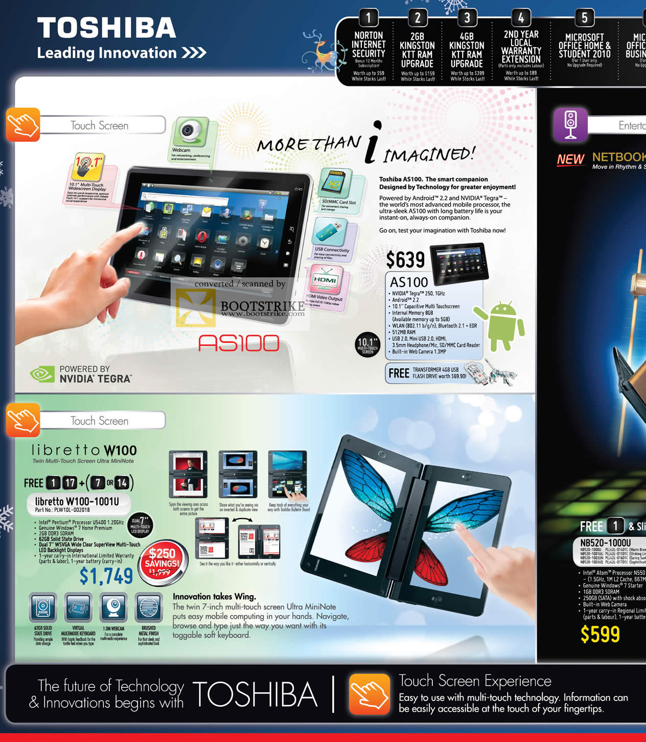 Sitex 2010 price list image brochure of Toshiba Tablets Nvidia Tegra AS100 Android Libretto W100 1001U
