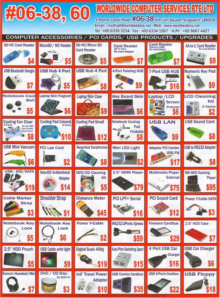Sitex 2010 price list image brochure of Worldwide Computer Accessories Card Reader Slim Case Skin DVD R Pouch Media Player