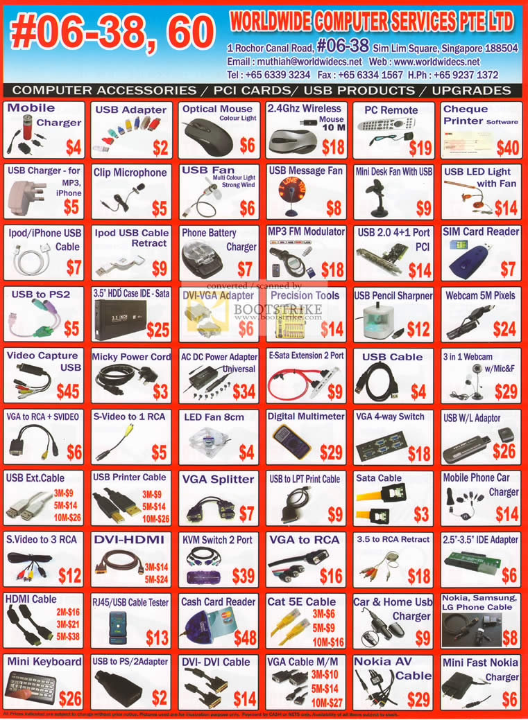 Sitex 2010 price list image brochure of Worldwide Computer Accessories Mobile Charger USB Cable VGA Splitter DVI HDMI Webcam Fan Optical Mouse