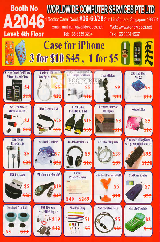 Sitex 2010 price list image brochure of Worldwide Computer Accessories Screen Guard Skin Card Reader Notebook USB Bluetooth SIM Card