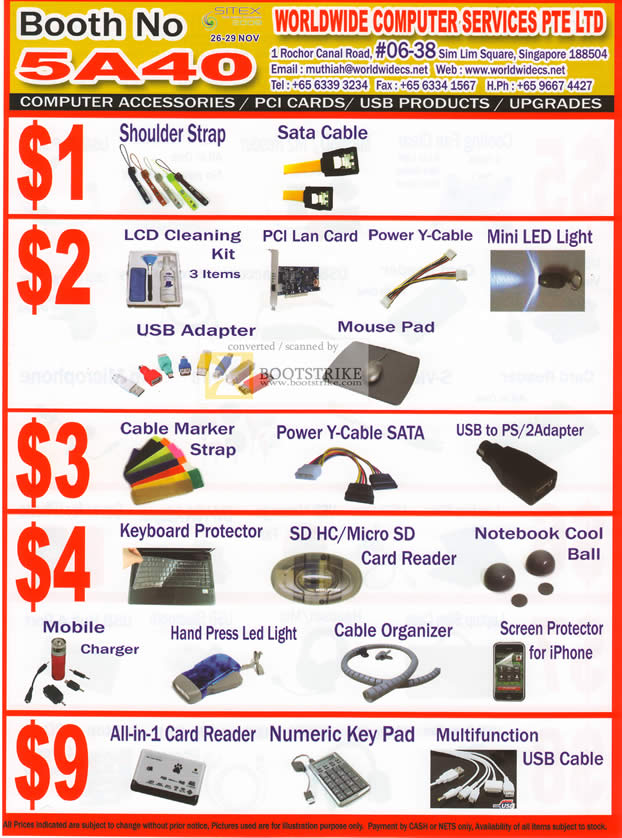 Sitex 2010 price list image brochure of Worldwide Computer Accessories Shoulder Strap LCD Cleaning Card Reader Screen Protector LAN Card