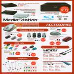 Blu Ray Writer DVD MediaStation Mouse Wireless USB Hub Earphone HDMI LAN Cable