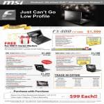 MSI Notebooks F Series FX400 X360 X400 7300 PC Wind Top AE2220 Trade In