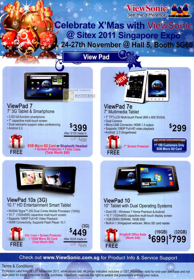 SITEX 2011 price list image brochure of AAAs Com Viewsonic Monitors ViewPad 7 Tablet, Viewpad 7e, Viewpad 10s, ViewPad 10