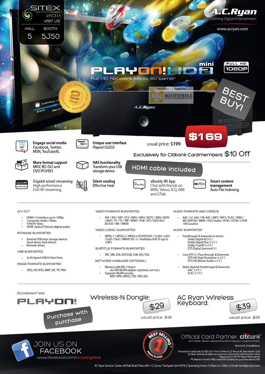 SITEX 2011 price list image brochure of AC Ryan Media Player Playon, Wireless N Dongle, Wireless Keyboard