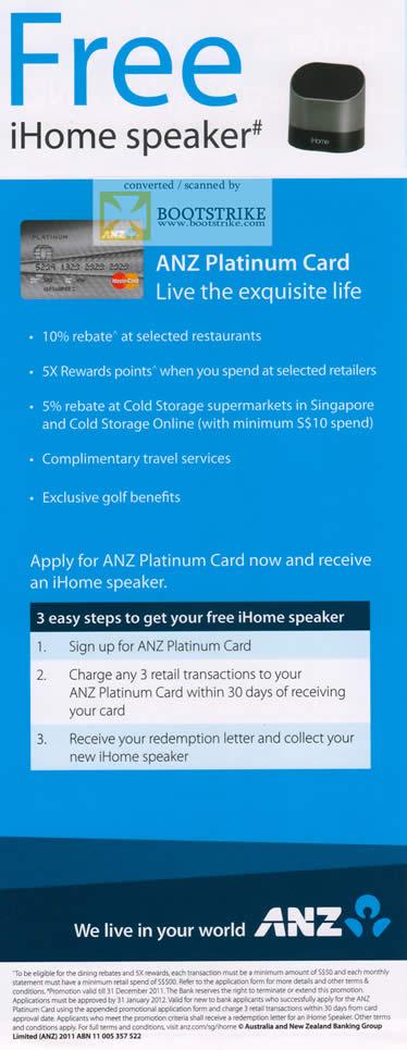 ANZ Free IHome Speaker Platinum Card SITEX 2011 Price List