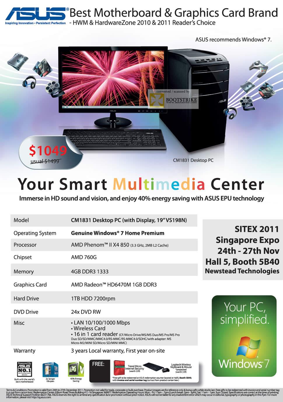 SITEX 2011 price list image brochure of ASUS Desktop PC CM1831 AMD