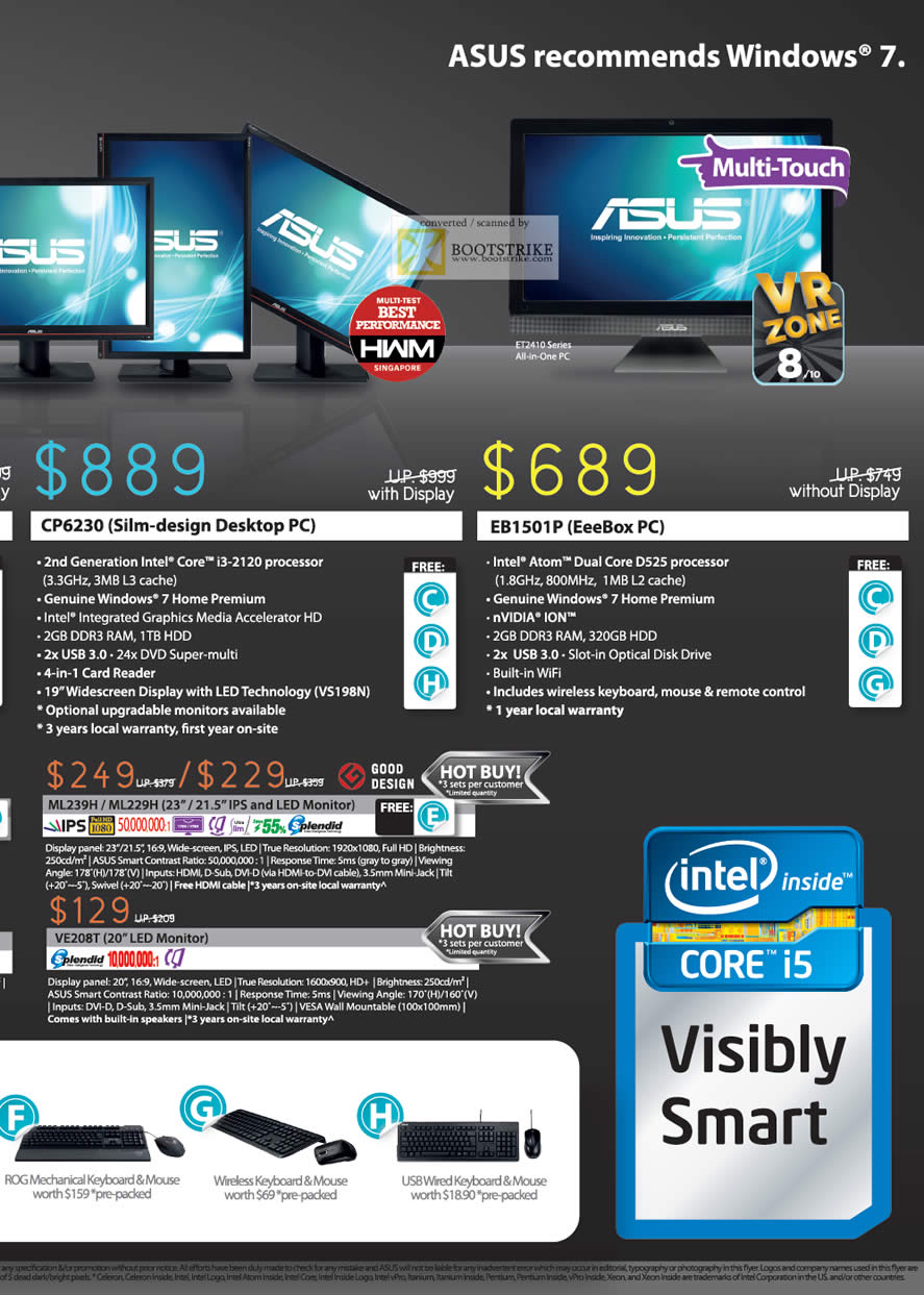 SITEX 2011 price list image brochure of ASUS Desktop PC CP6230, EB1501P, LED Monitor ML239H, ML229H, VE208T