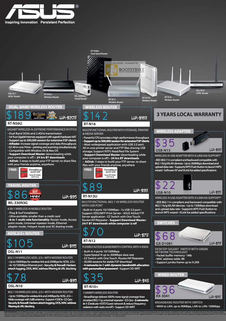 SITEX 2011 price list image brochure of ASUS Networking Wireless Router, RT-N56U, RT-N16, WL-330N3G, RT-N13U, RT-N12, ADSL, Switch, Wireless Adapter
