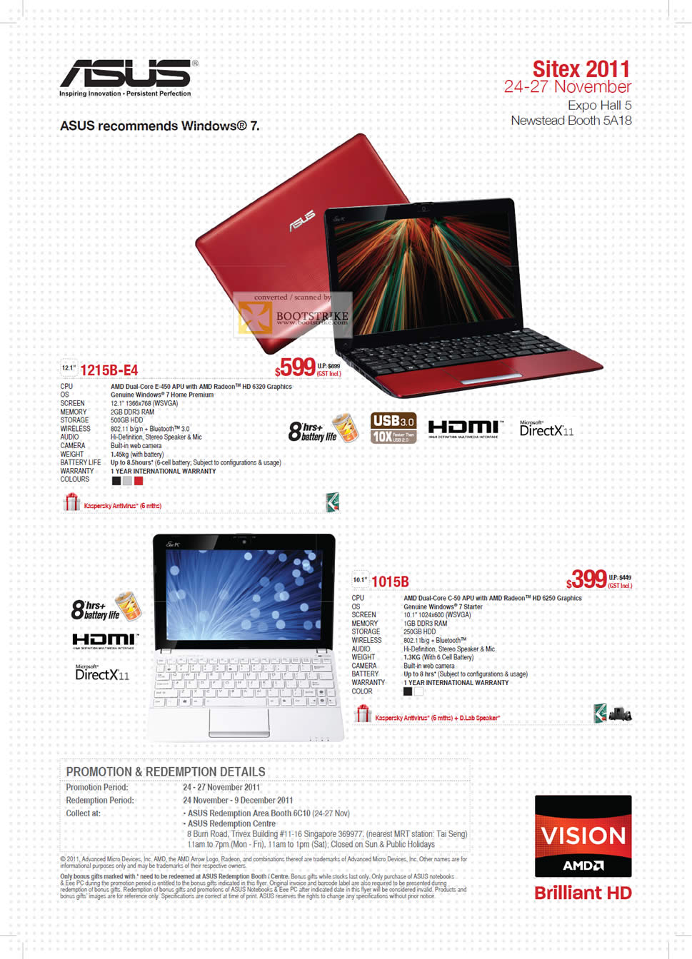 SITEX 2011 price list image brochure of ASUS Notebooks Netbooks 1215B-E4, 1015B