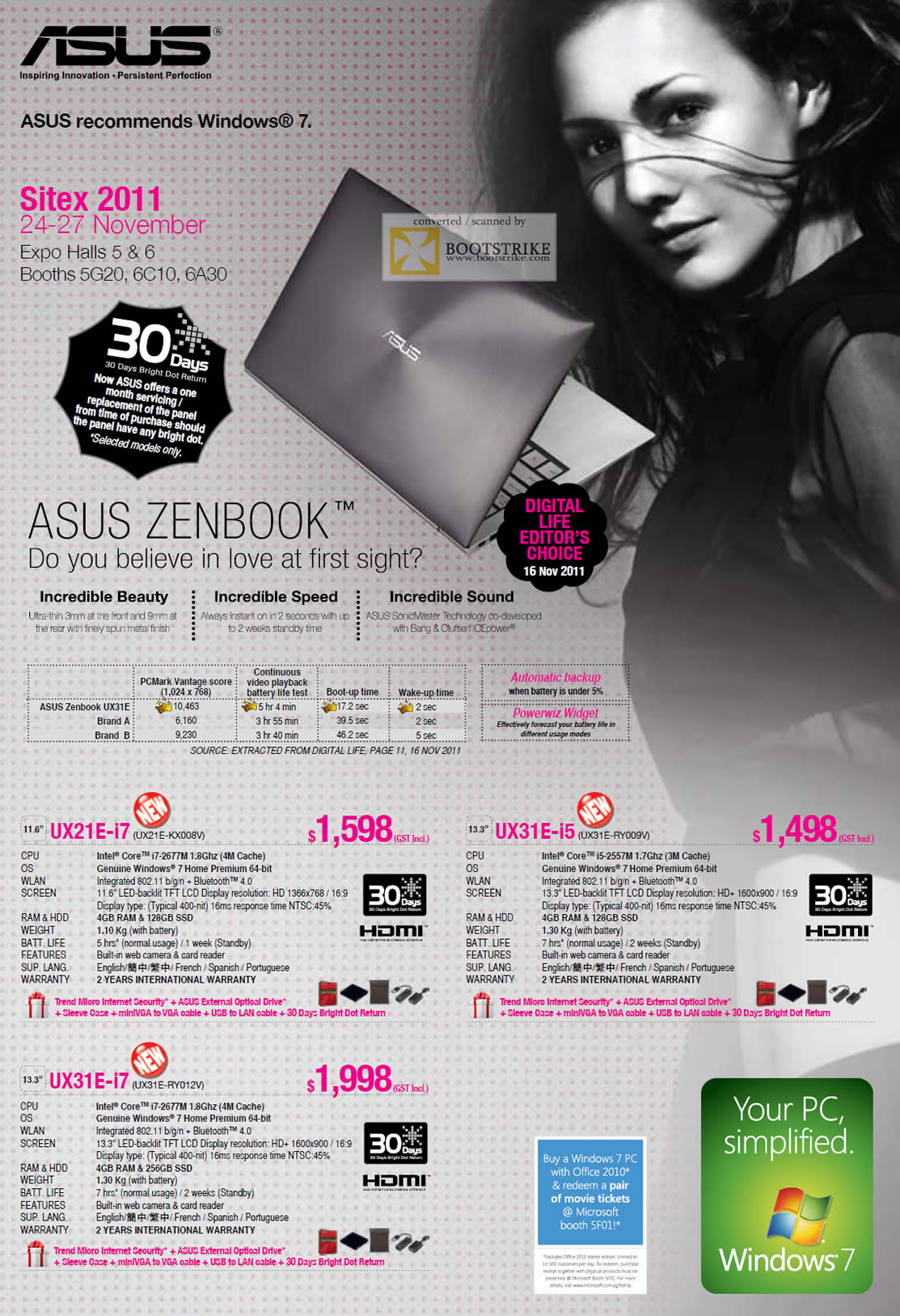 SITEX 2011 price list image brochure of ASUS Notebooks Zenbook UX21E-i7 UX21E-KX008V, UX31E-i5 UX31E-RY009V, UX31E-i7 UX31E-RY012V