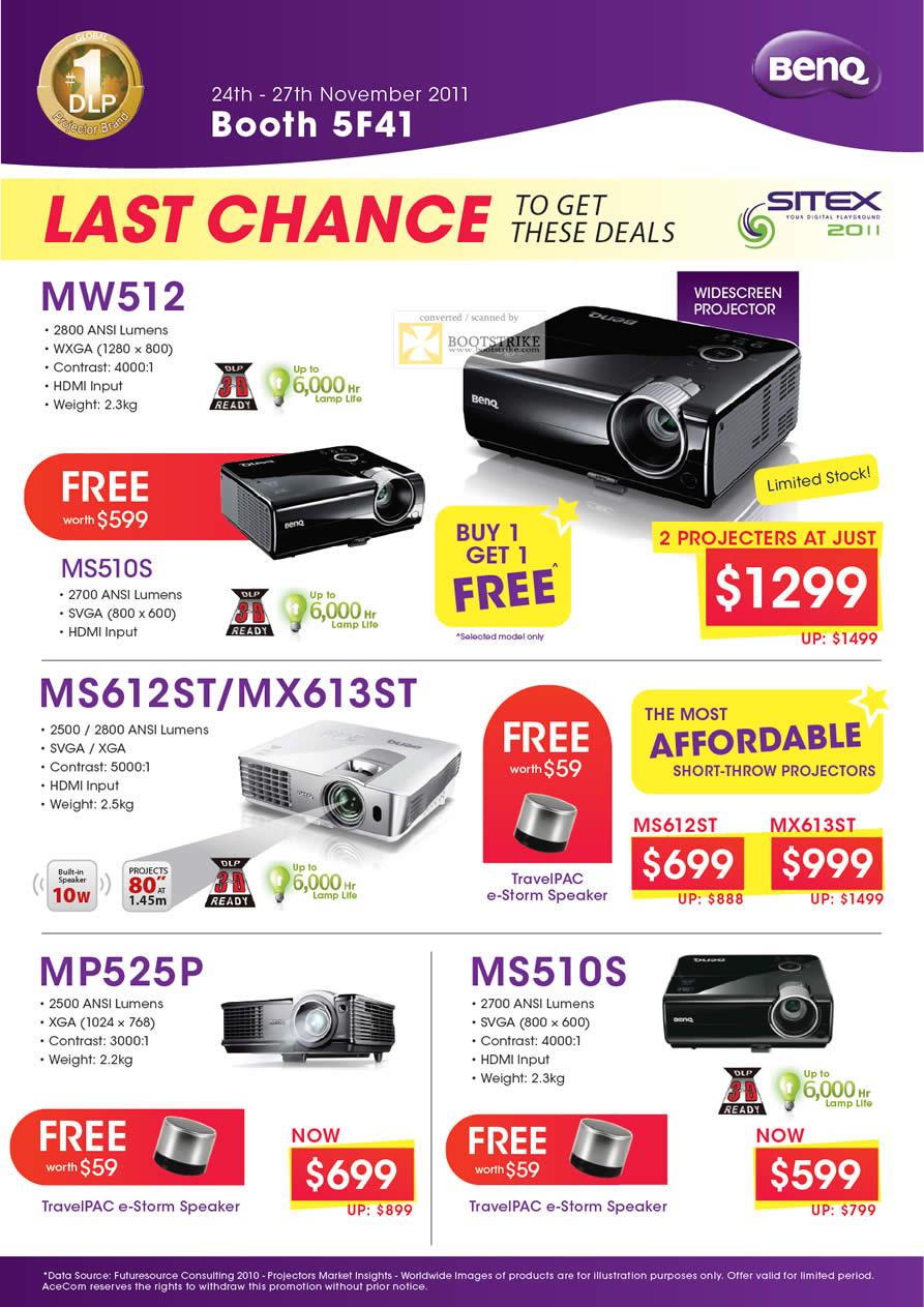 SITEX 2011 price list image brochure of AceCom BenQ Projectors MW512, MS612ST, MX613ST, MP525P, MS510S