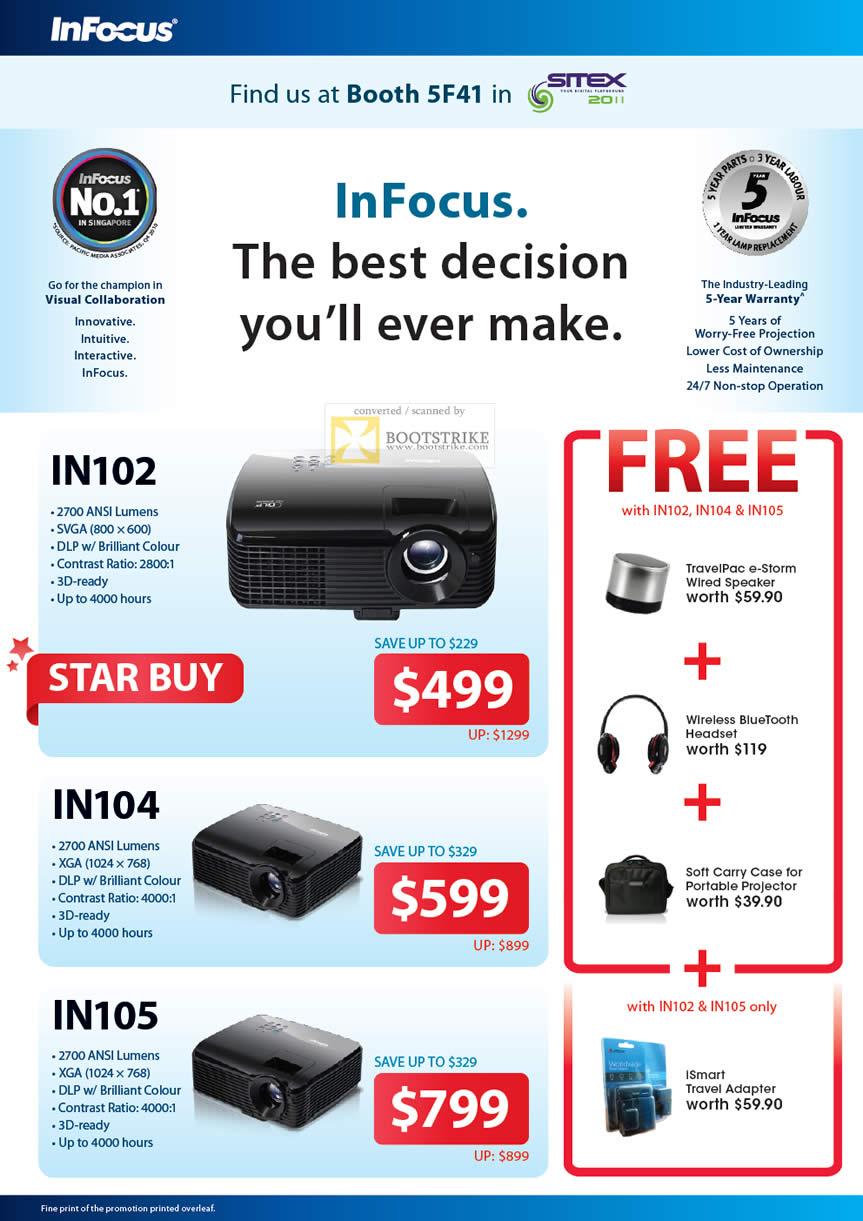 SITEX 2011 price list image brochure of AceCom Infocus Projectors IN102, IN104, IN105