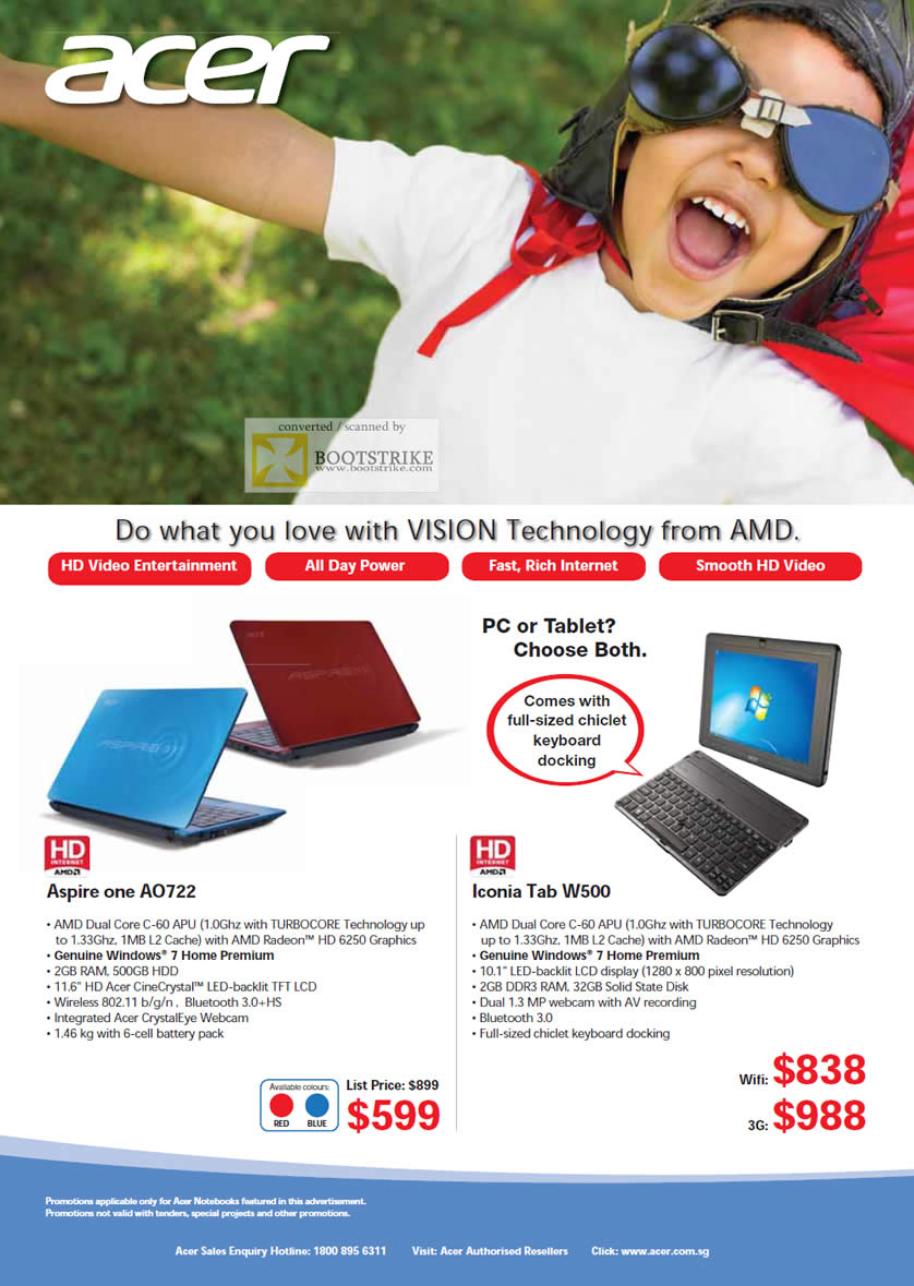 SITEX 2011 price list image brochure of Acer AMD Tablets Notebooks Aspire One A0722, Icona Tab W500