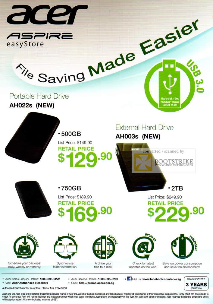 SITEX 2011 price list image brochure of Acer Aspire External Storage Easystore AH022s, AH003s