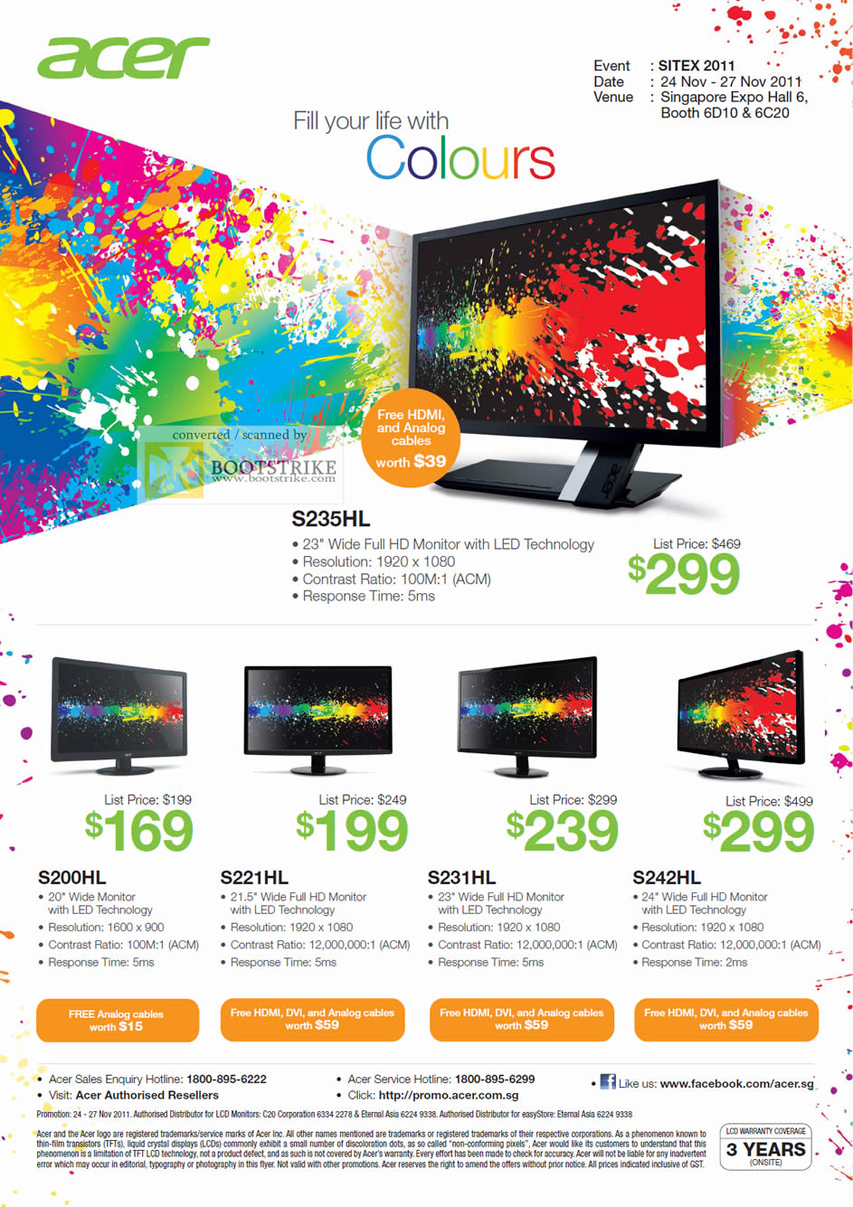 SITEX 2011 price list image brochure of Acer LED Monitors S235HL, S200HL, S221HL, S231HL, S242HL