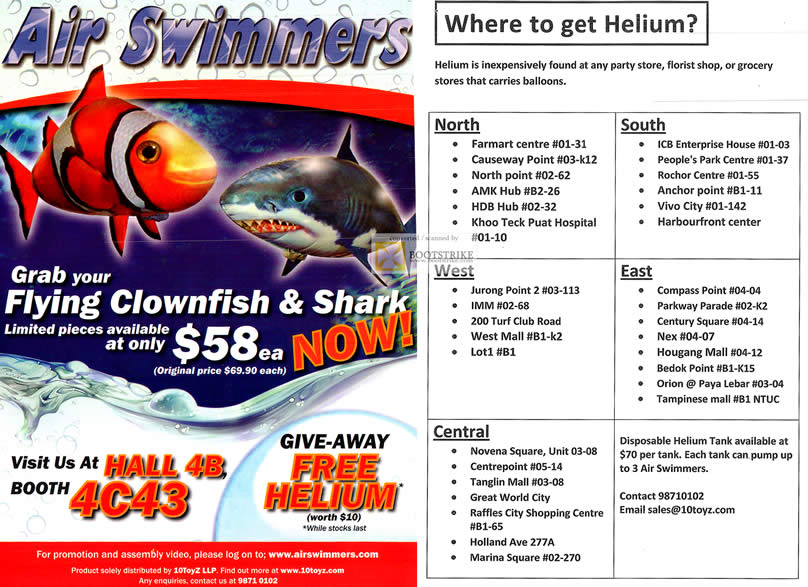SITEX 2011 price list image brochure of Air Swimmers Flying Clownfish, Shark, Helium Locations