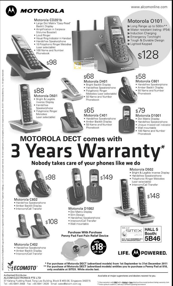 SITEX 2011 price list image brochure of Alcom Motorola DECT Phones CD201b, O101, D501, D401, C601, C401, D1001, C602, C402, D1002, D502