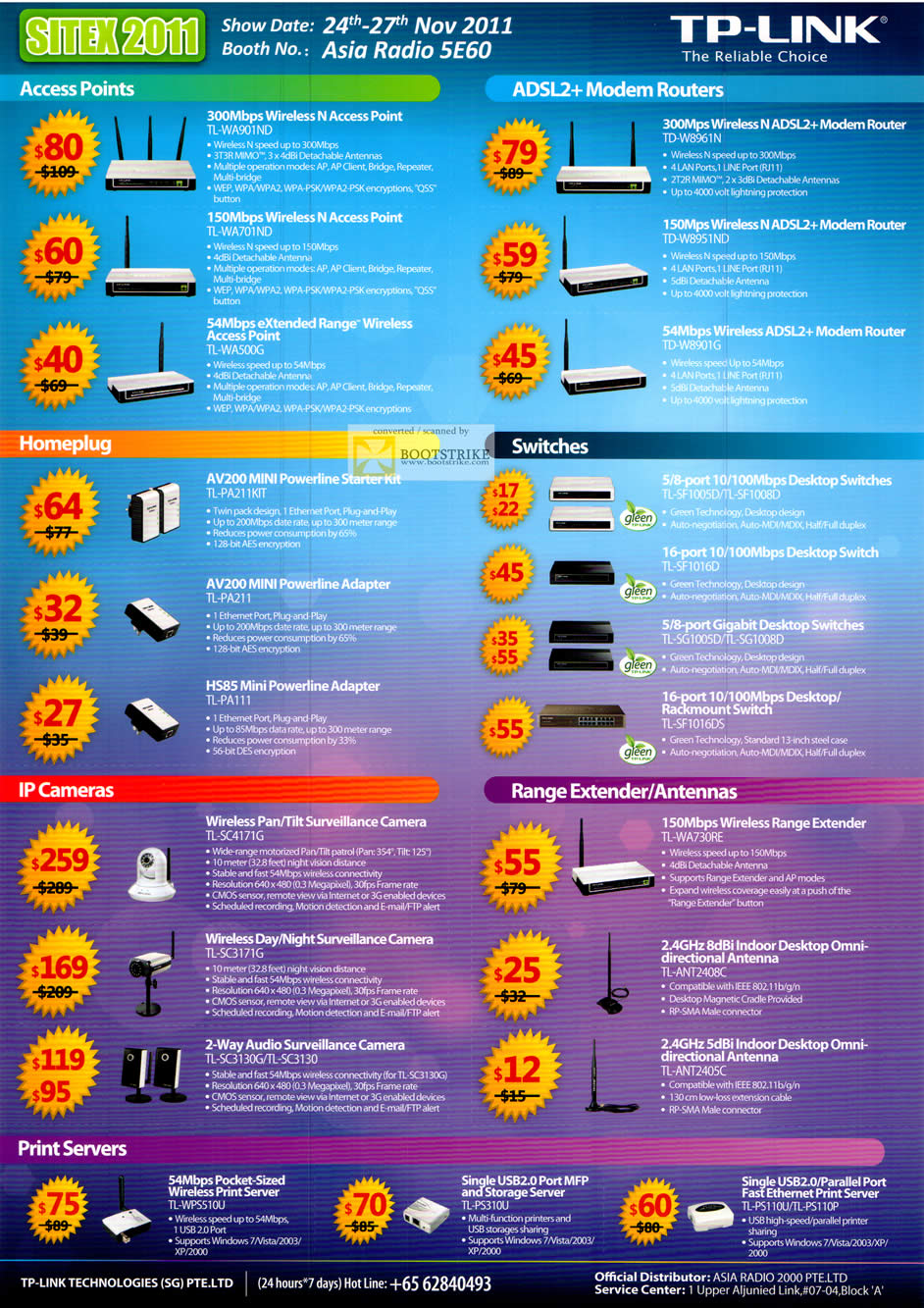 SITEX 2011 price list image brochure of Asia Radio TP-Link Networking Access Points, ADSL2 Modem Routers, Homeplug, Switch, IPCam, Range Extender, Antenna, Print Server