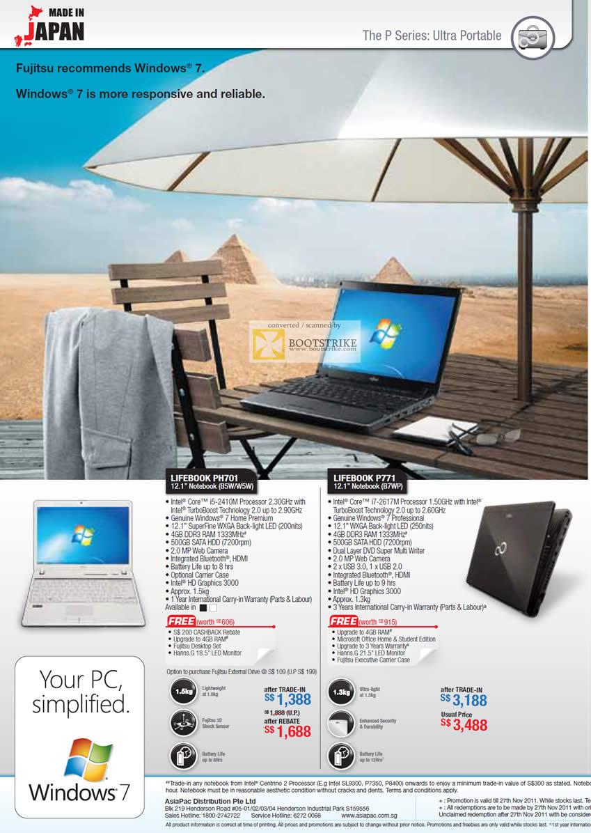 SITEX 2011 price list image brochure of Asiapac Fujitsu Notebooks P Series PH701 B5W, W5W, P771, B7WP