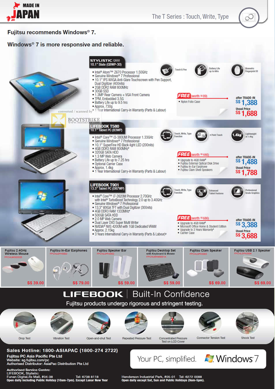 SITEX 2011 price list image brochure of Asiapac Fujitsu Notebooks Slate, Tablet PC, Stylistic Q550 GBWP-30, Lifebook T580 B3WP, T901 DB7WP, Mouse, Earphones, USB Speaker, Accessories