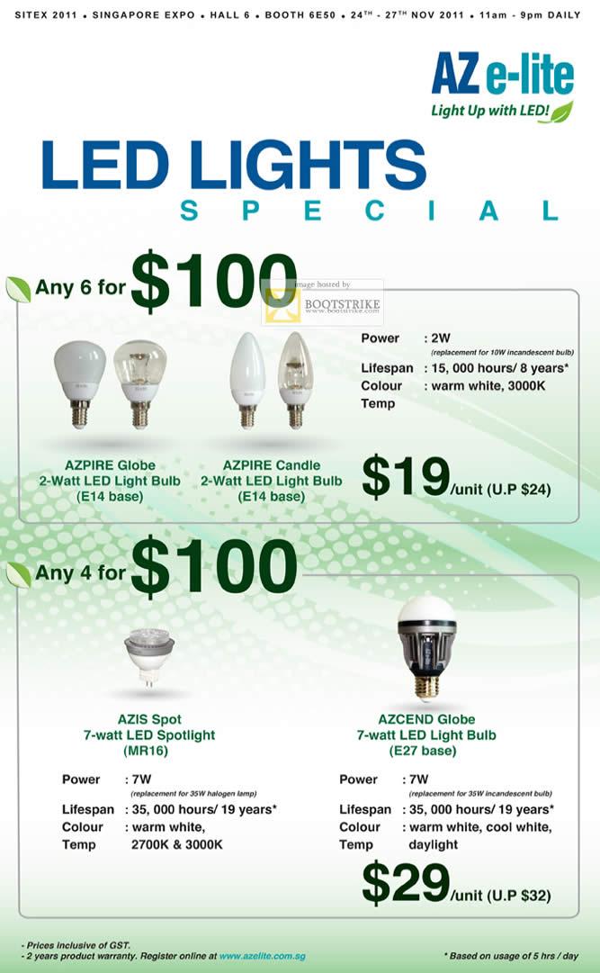 SITEX 2011 price list image brochure of Aztech LED Lights Azpire Globe Bulb E14 Base, Candle, Azis Spot Spotlight MR16, E27