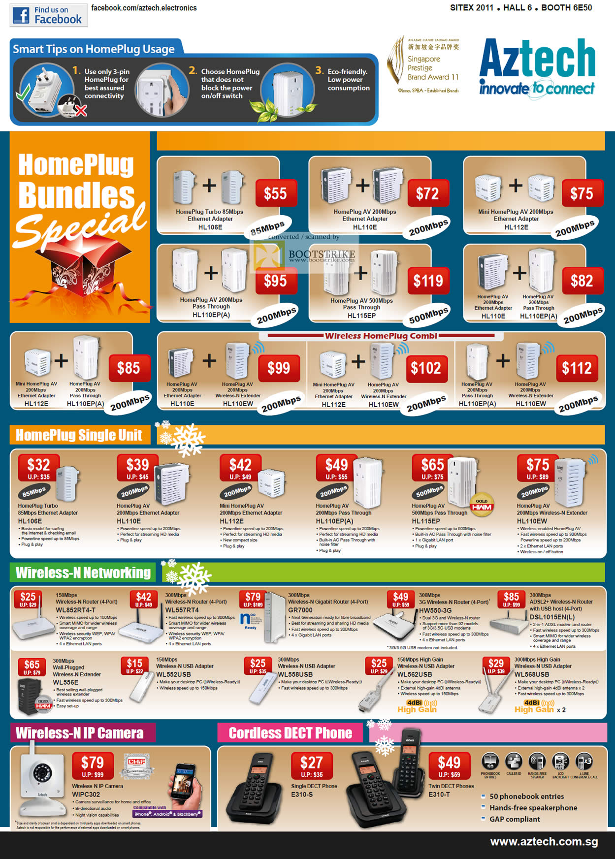 SITEX 2011 price list image brochure of Aztech Networking Homeplug, HL106E, HL110E, HL112E, HL110EP A, HL115EP, Wireless Router, Range Extender, USB Adapter, IPCam, Cordless DECT Phone