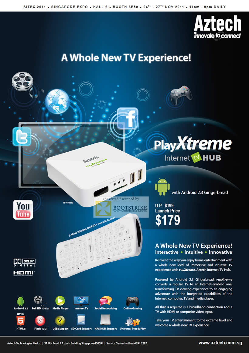 SITEX 2011 price list image brochure of Aztech Playxtreme Internet TV Hub Android, Media Player