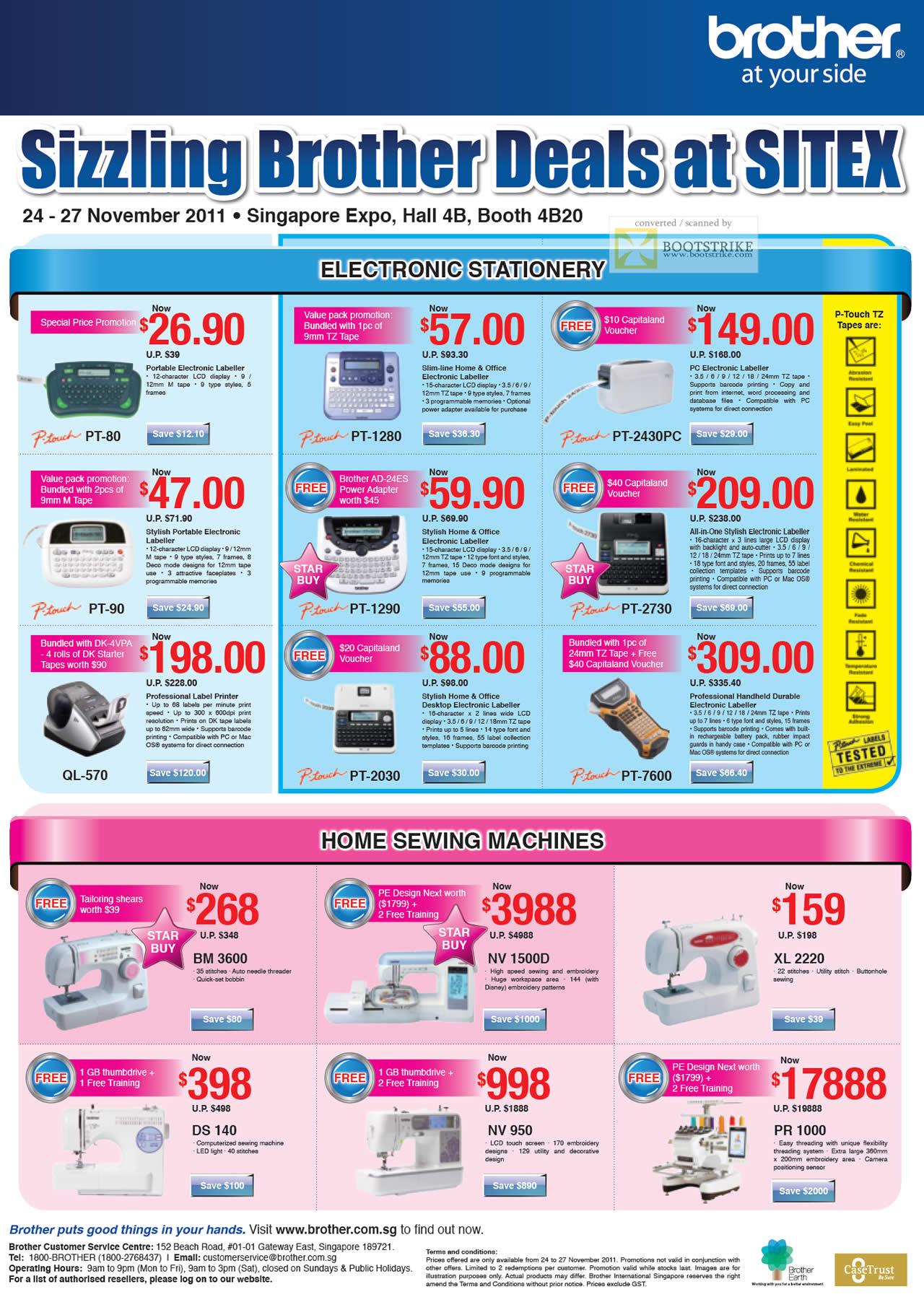 SITEX 2011 price list image brochure of Brother Labellers P-Touch PT-80, QL-570, PT-90, PT-1280, PT-2430PC, PT-1290, PT-2730, PT-2030, PT-7600, Sewing Machines BM 3600, NV 1500D, XL 2220, DS 140, NV 950, PR 1000