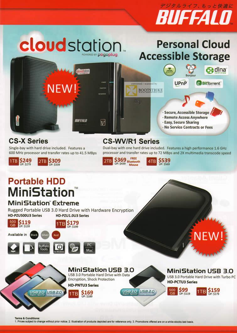 SITEX 2011 price list image brochure of Buffalo NAS Cloudstation Pogoplug, MiniStation Extreme, USB3, External Storage