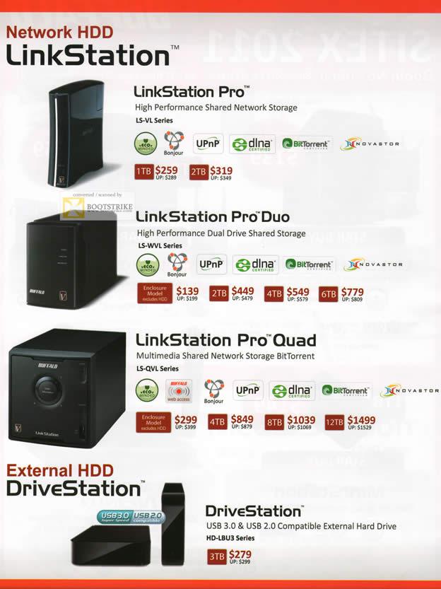 SITEX 2011 price list image brochure of Buffalo NAS LinkStation Pro, LinkStation Pro Duo, LinkStation Pro Quad, DriveStation External Storage