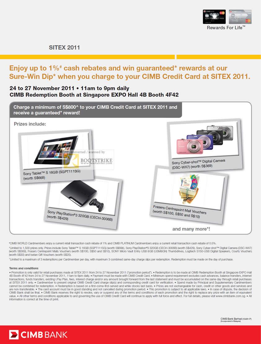 SITEX 2011 price list image brochure of CIMB Credit Card Cash Rebates Sure-Win Dip Guaranteed Rewards
