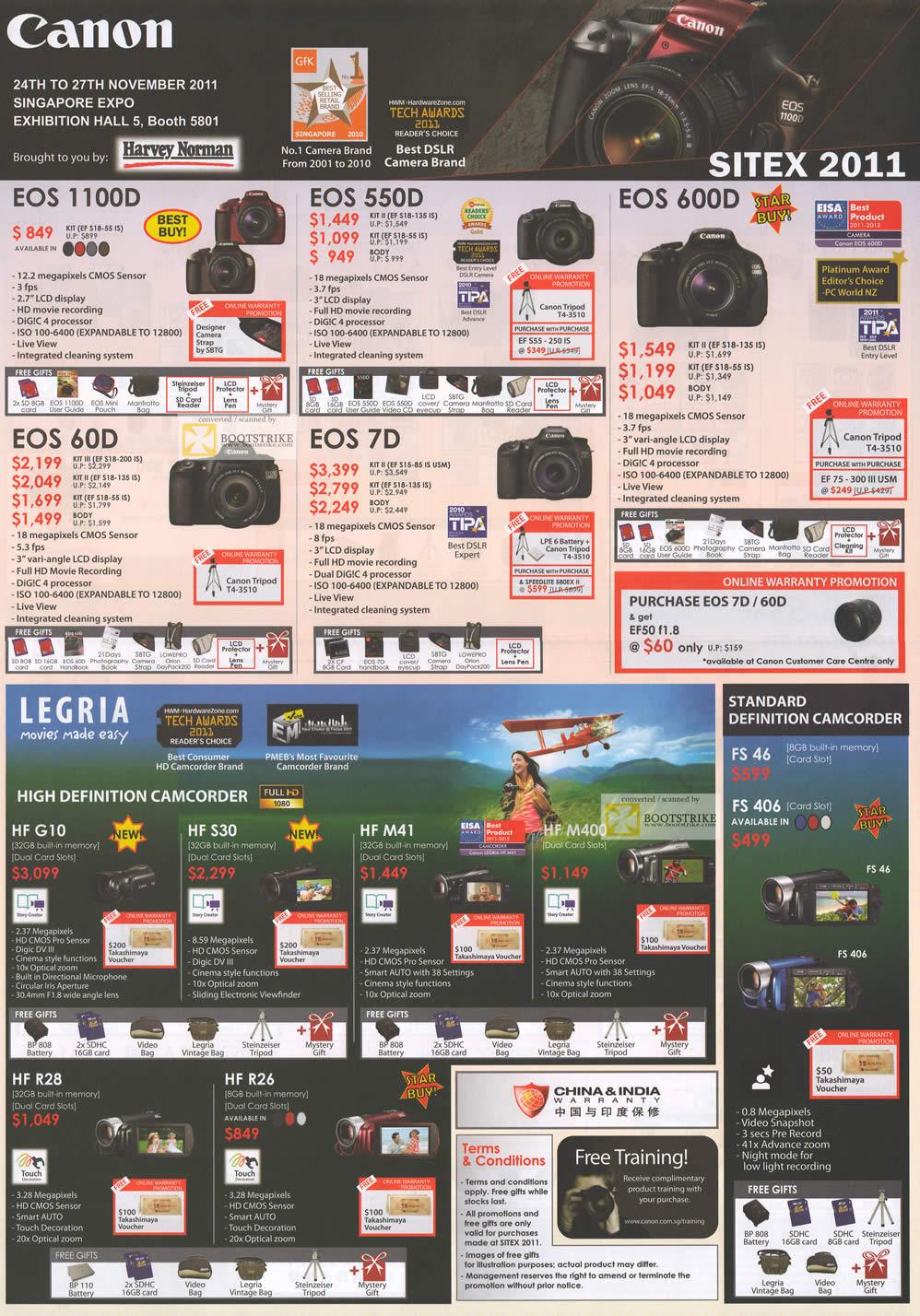 SITEX 2011 price list image brochure of Canon Digital Cameras DSLR EOS 1100D, EOS 60D, EOS 550D, EOS 70D, EOS 600D, Legria Video Camcorder HF G10, HF S30, HF M41, HF M400, HF R89, HF R26, FS46, FS406