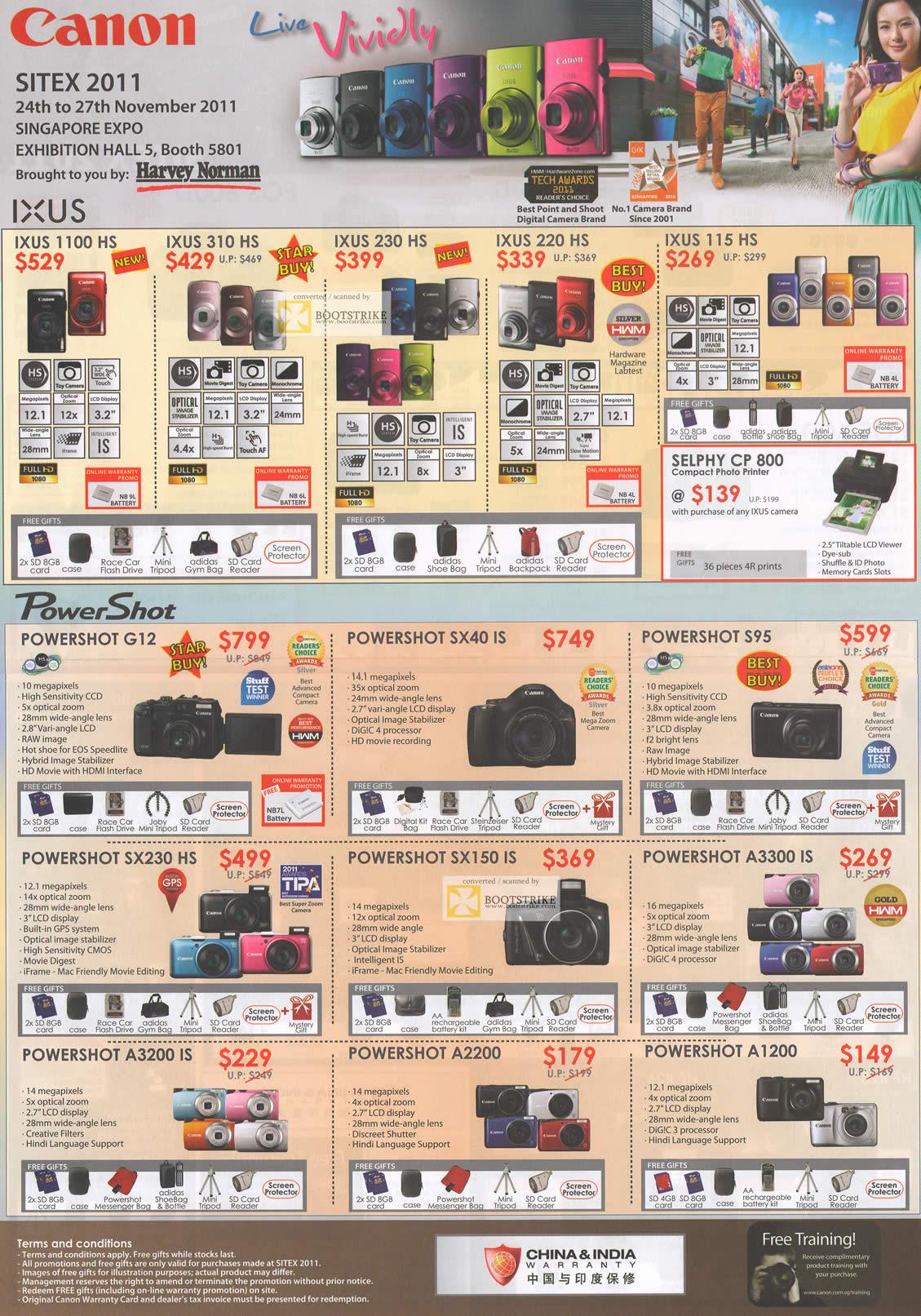 SITEX 2011 price list image brochure of Canon Digital Cameras IXUS 1100 HS, 310 HS, 230 HS, 220 HS, 115 HS, Selphy CP 800, PowerShot G12, SX40 IS, S95, SX230 HS, SX150 IS, A3300 IS, A3200 IS, A2200, A1200