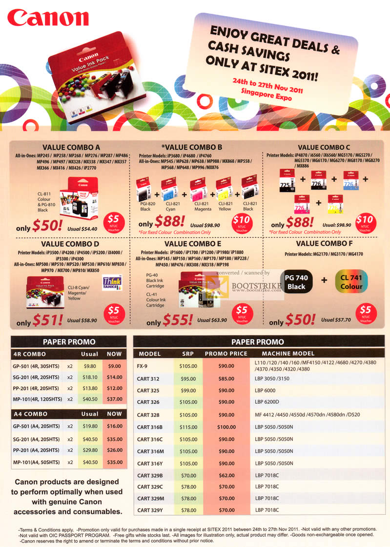 SITEX 2011 price list image brochure of Canon Ink Cartridge Value Combo, Paper 4R, A4, Toner, Cart.jpg