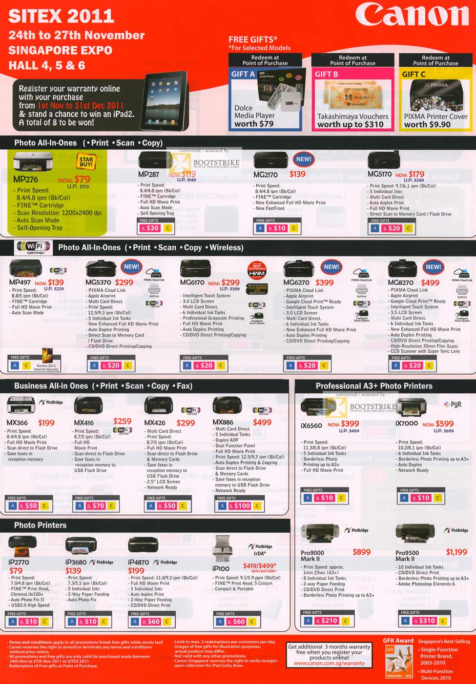SITEX 2011 price list image brochure of Canon Inkjet Printers MP276, MP287, MG2170, MG5170, MP497, MG5370, MG170, MG6270, MG8270, MX366, MX416, IX7000, IP2770, IP3680, IP4870, IP100, Pro9000 Mark II, Pro9500