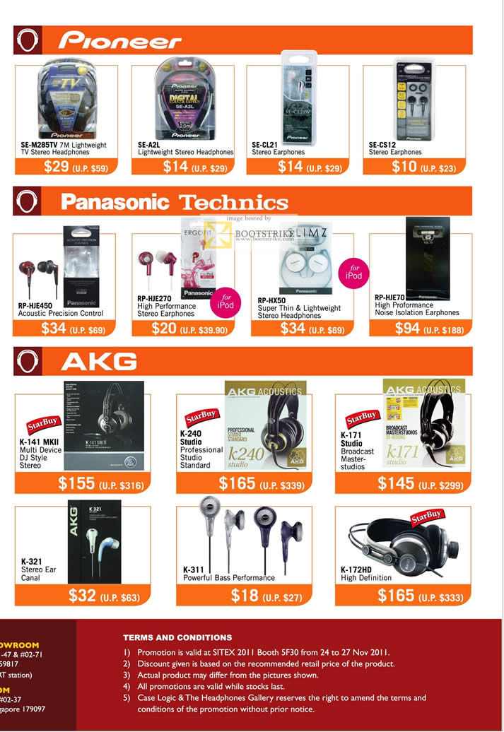 SITEX 2011 price list image brochure of Case Logic Headphones Gallery Pioneer SE-M285TV, SE-A2L, SE-CL21, SE-CS12, Panasonic Technics RP-HJE450, HJE270, HX50, HJE70, AKJ K-141 MKII, 240, 171, 321, 311 Earphones, K-172HD