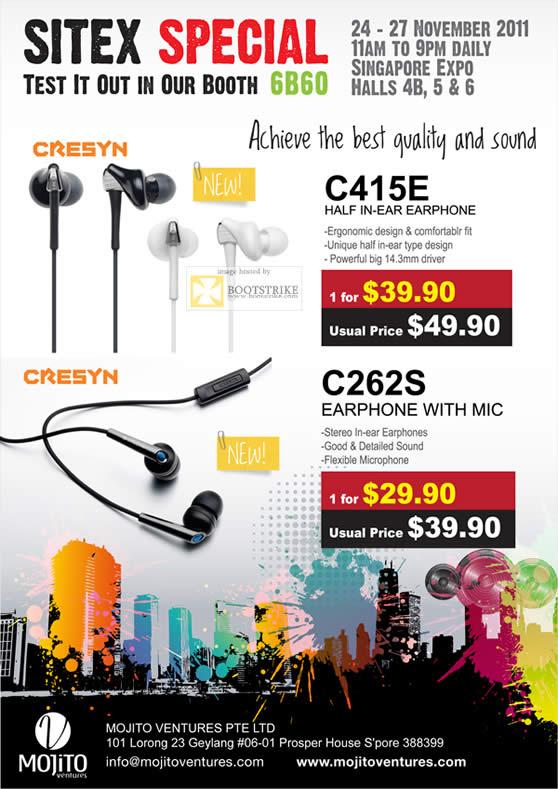 SITEX 2011 price list image brochure of Cresyn Earphones C415E, C262S, Mic