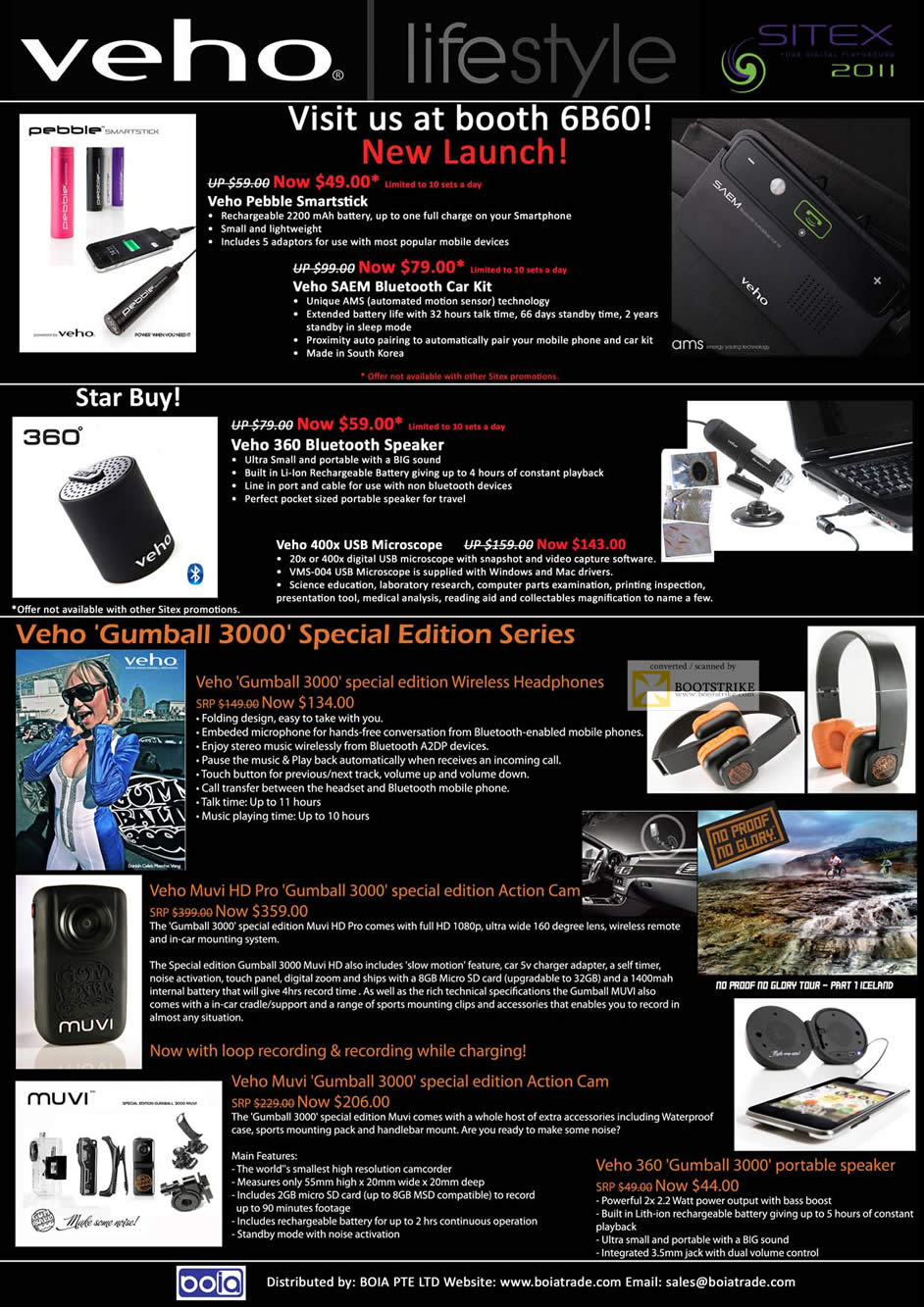 SITEX 2011 price list image brochure of Cresyn Veho Pebble Smartstick Battery, Saem Bluetooth, 360 Bluetooth Speaker, USB Microscope, Gumball 3000 Headphones, Muvi HD Pro, Muvi Gumball 3000 Camcorder, 360 Portable Speaker