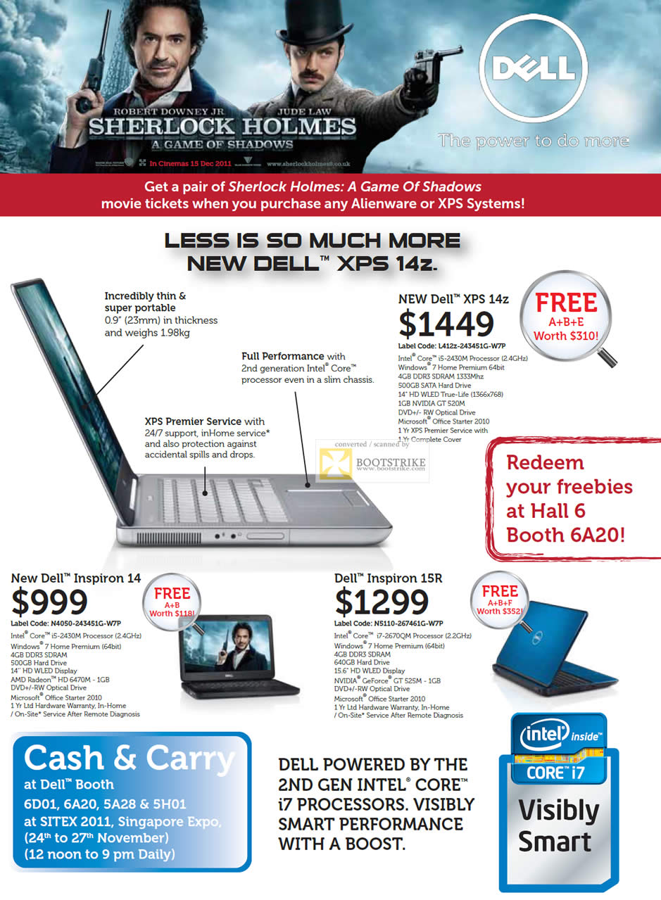 SITEX 2011 price list image brochure of Dell Notebooks XPS 14Z L412z-243451G-W7P, Inspiron 14 N4050-243451G-W7P, Inspiron 15R N5110-267461G-W7P