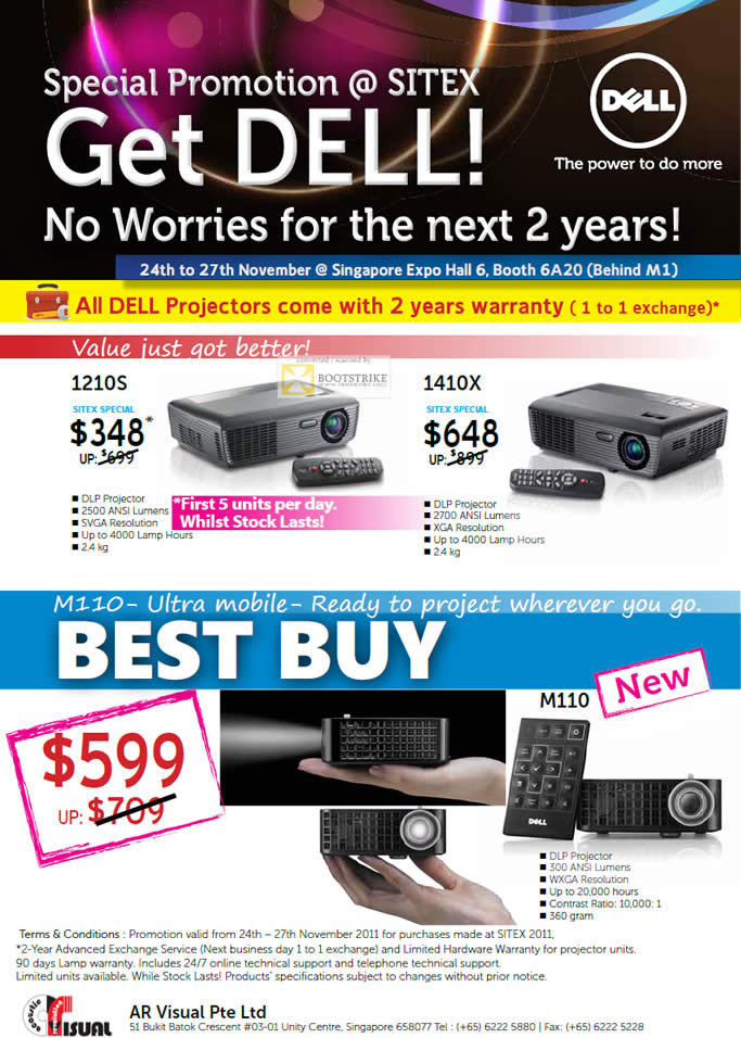 SITEX 2011 price list image brochure of Dell Projectors 1210S, 1410X, M110 Portable