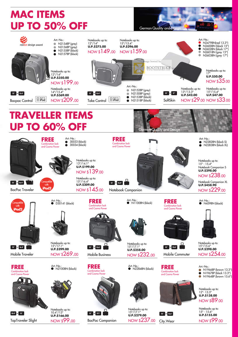 SITEX 2011 price list image brochure of Dicota Bags Bacpac Control, Take Control, SoftSkin, Traveler, Notebook Companion, Mobile Traveler, Commuter, Business, City.Wear, TopTraveler Sight