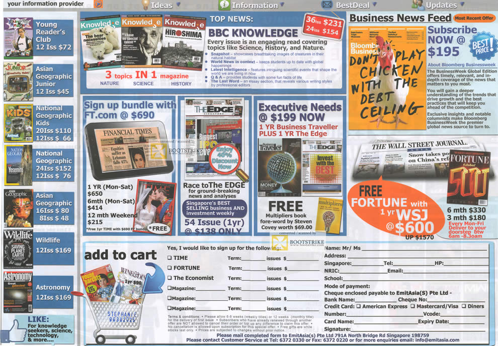 SITEX 2011 price list image brochure of Emit Asia Magazines Knowledge, Fortune, The Edge, Financial Times, National Geographic