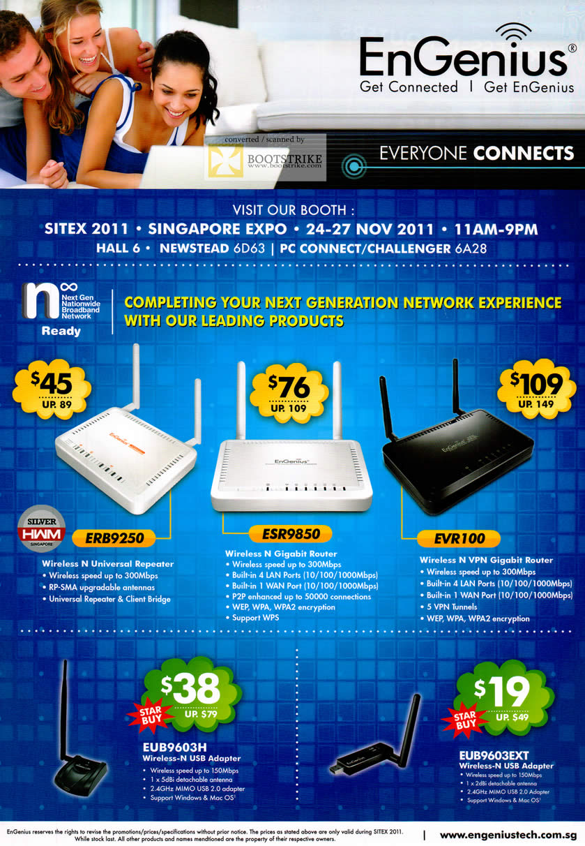 SITEX 2011 price list image brochure of Engenius Networking Wireless ERB9250 Repeater, ESR9850, EVR100, EUB9603H, EUB9603EXT USB Adapter