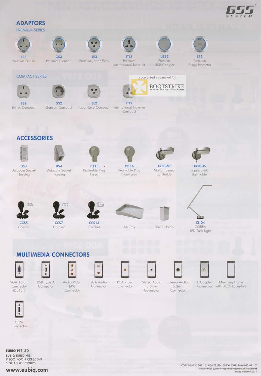 SITEX 2011 price list image brochure of Eubiq Adaptors GSS System Adaptors, Accessories, Multimedia Connectors