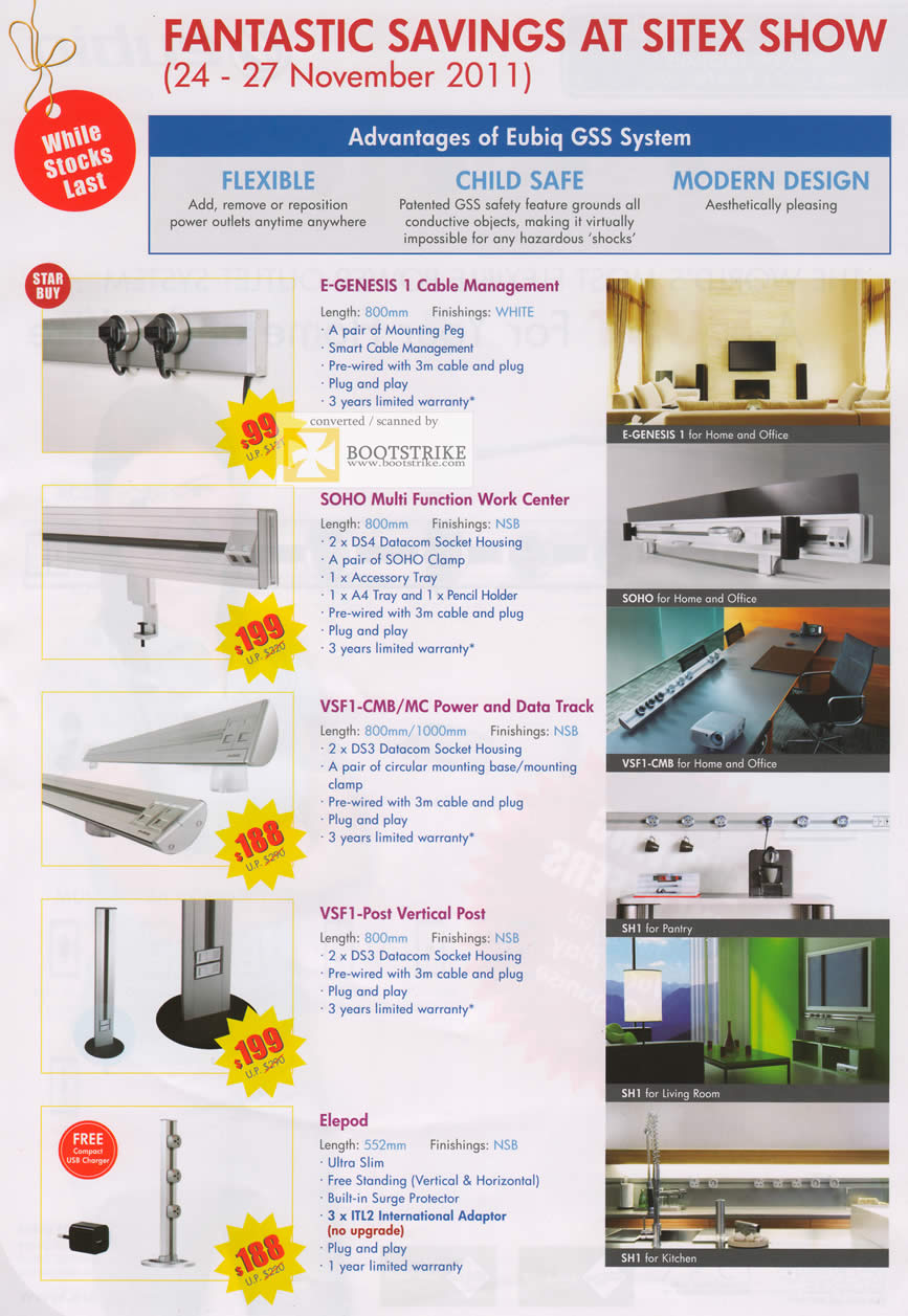 SITEX 2011 price list image brochure of Eubiq GSS System Packages, E-GENESIS 1 Cable Management, SOHO Multi Function Work Center, VSF1-CMB MC Power And Data Track, VSF1-Post Vertical Post, Elepod